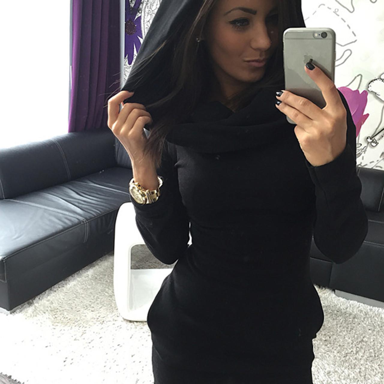 ... Hot Sale Sexy Women Sweatdress Autumn amp Winter Hooded Dress Bodycon  Slim Long Sleeve Dress Basic ... d0b9fd8a92