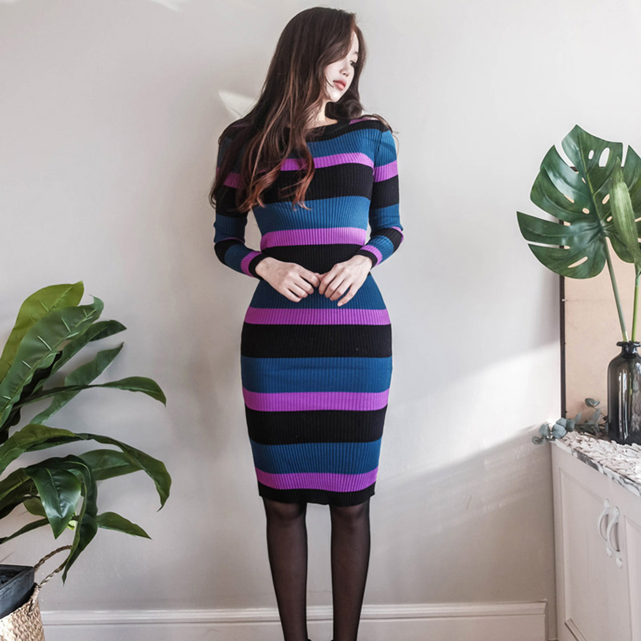 2018 Winter Sheath Striped Sweater Dress Women Stretchy Full Sleeve O Neck Knit Slim Dress Casual Bodycon Party Dresses Knitted Onshopdeals Com