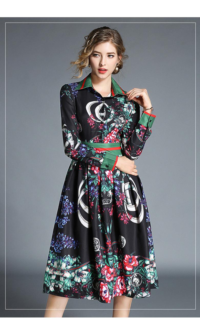 431caf01c61b3 ... Runway Designer Vintage Print Long Shirt Dress Women 2018 Autumn Long  Sleeve Turn Down Collar Black ...