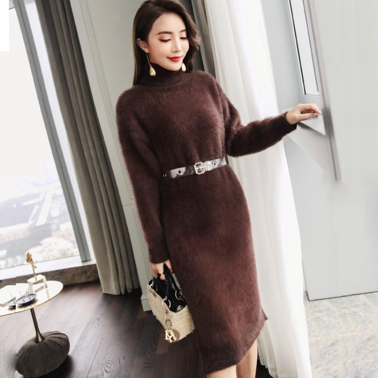38216a9bfb3 Autumn Winter Lady Elegant Warm Knitted Dress Loose Casual Turtleneck Long  Sleeve Sash Sweater Dress High Waist Warm Dress