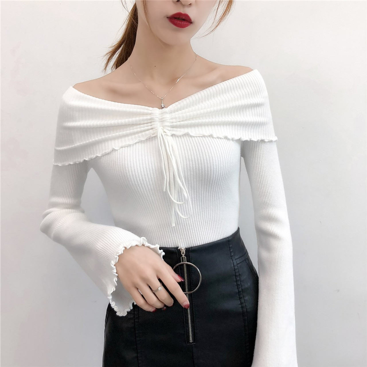 Casual Women Cotton Sweater Off Shoulder Pullover Flare Sleeve Knitted  Ladies Autumn Lace Up Tops Fashion ... 462a1678a