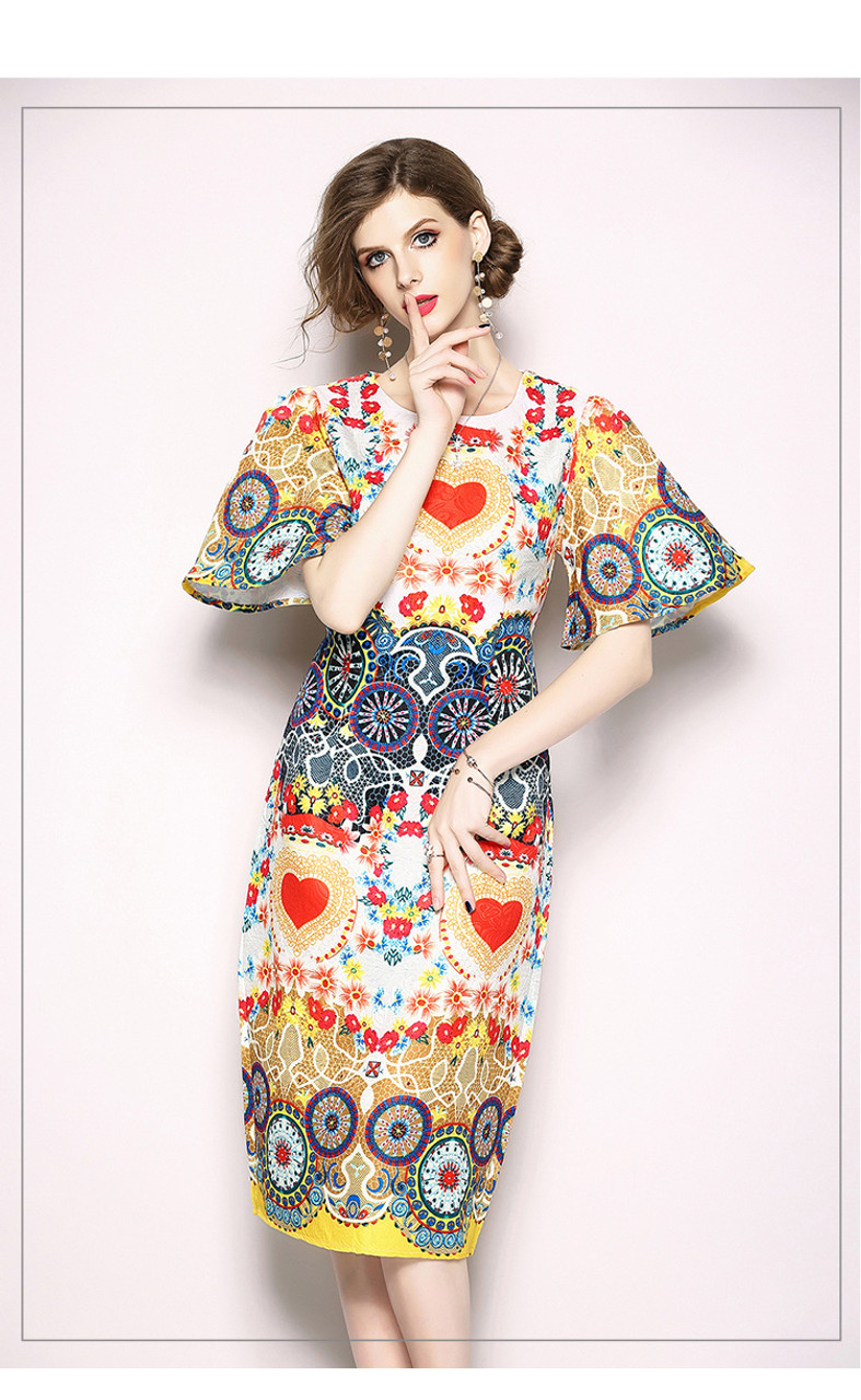 f4060bebacf5 ... Fashion Designer Runway Summer Women Dress Short Flare Sleeve Floral  Print Heart O Collar Indie Folk ...