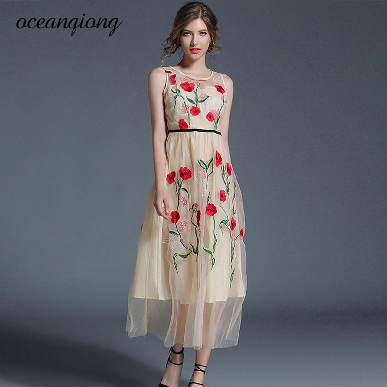 21cbb014d1ee 2018 Long Summer Dresses Newest Fashion Mesh Maxi Dresses Women Elegant  Sleeveless O Neck Flower Floral ...