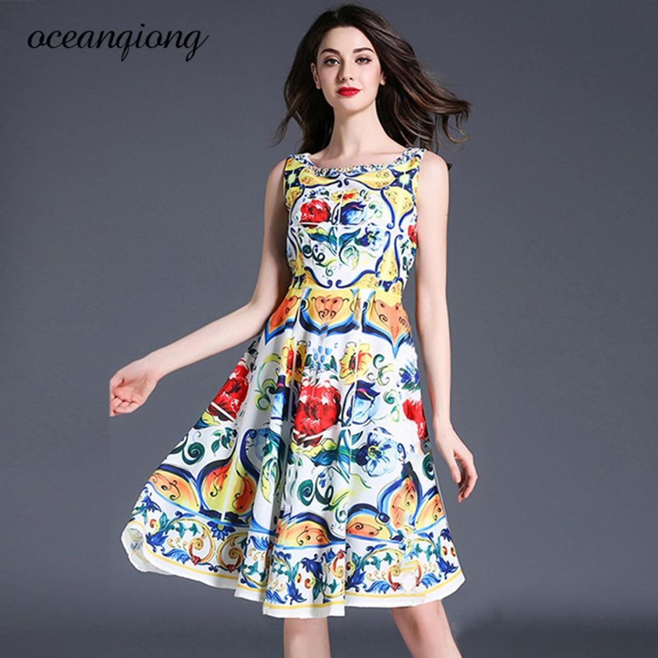 9e389e502970 Women Summer Dress Tank Dresses Floral Printed O-Neck Vestidos de Festa  Sleeveless Plus Size ...