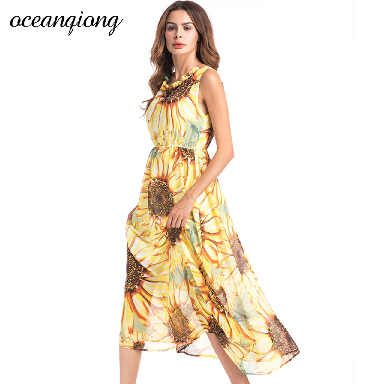 Vestidos Women Chiffon Beach Dresses Women Sexy Long Floral Dress 7  Summer Women Bohemian Dress Beach Summer Dress Yellow