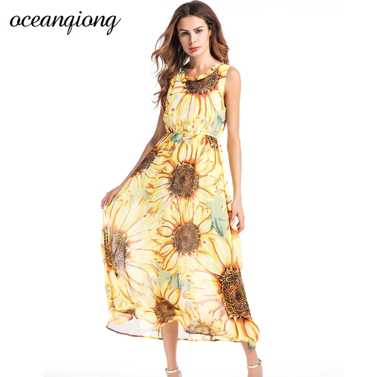 9685944c41b ... Vestidos Women Chiffon Beach Dresses Women Sexy Long Floral Dress 2018  Summer Women Bohemian Dress Beach ...