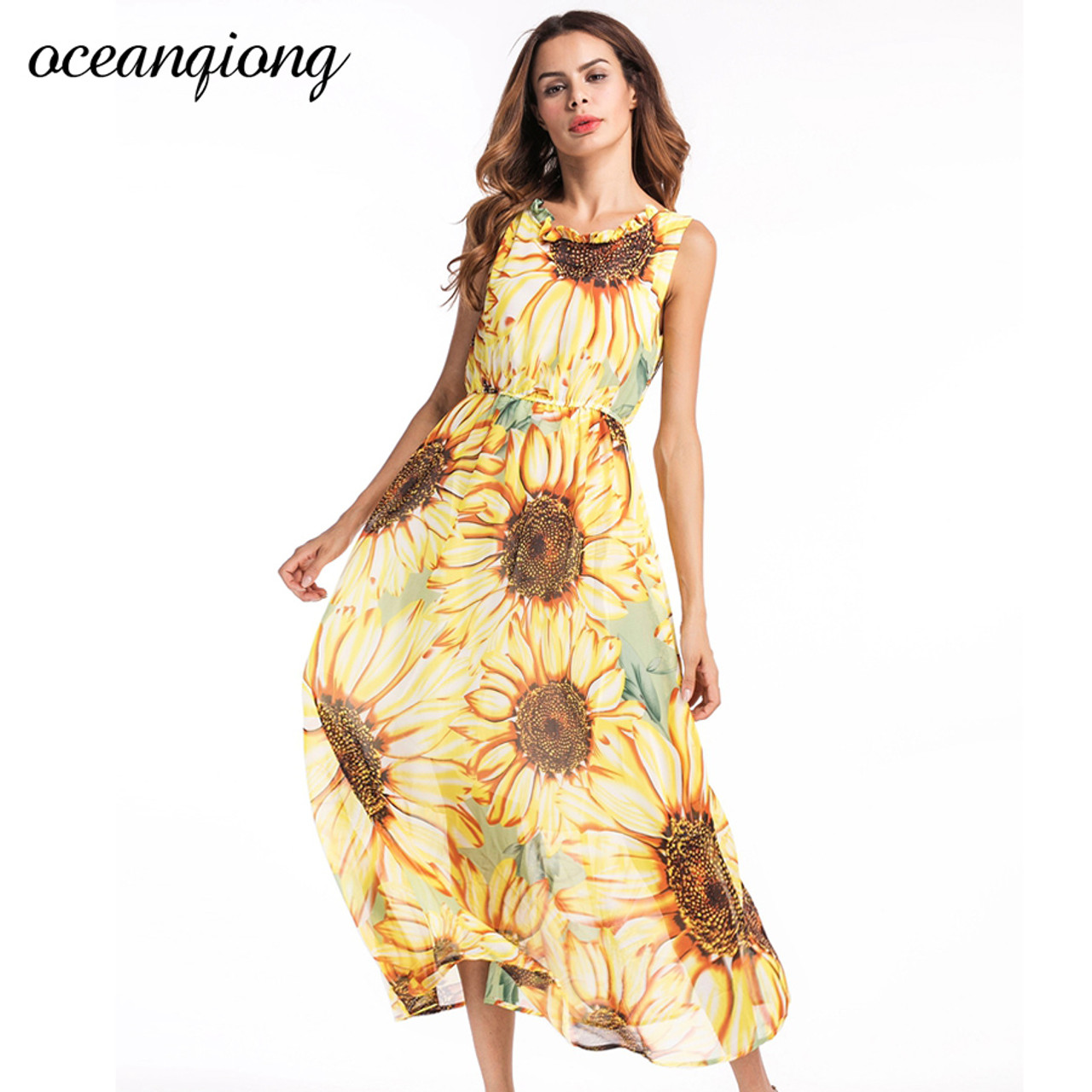 Vestidos Women Chiffon Beach Dresses Women Sexy Long Floral Dress 2018 Summer Women Bohemian Dress Beach Summer Dress Yellow Onshopdeals Com