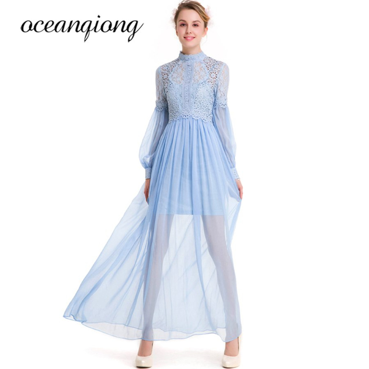 7ea3a1fab0c8b Women Dress Chiffon Sexy Lace Dress Summer 2018 Long Sleeve Lantern Sleeve  Two Piece Chiffon Long Dress Maxi Vestido Plus Size