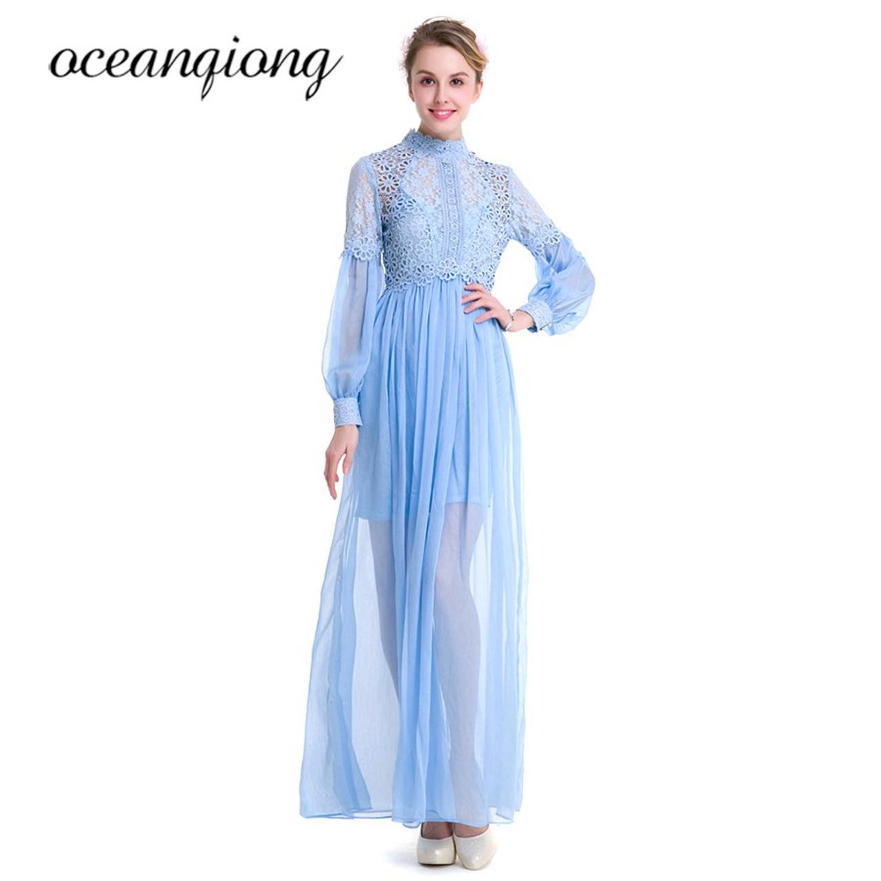 ... Women Dress Chiffon Sexy Lace Dress Summer 2018 Long Sleeve Lantern  Sleeve Two Piece Chiffon Long ... 88d5deb0c729