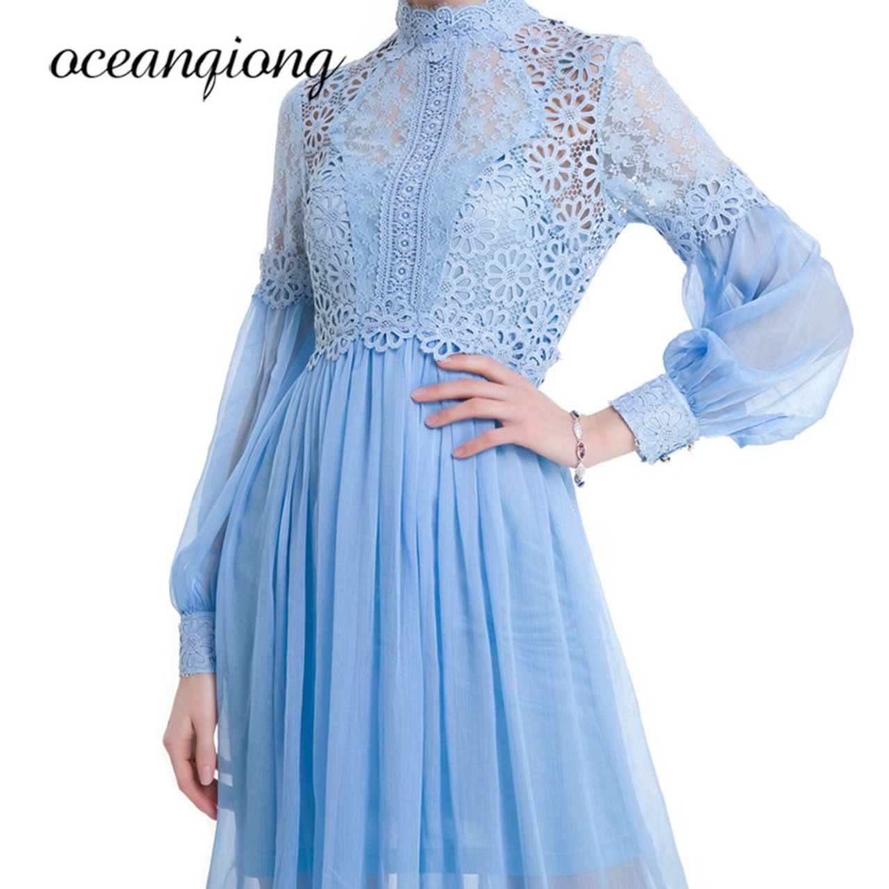 3e6158001d8b ... Women Dress Chiffon Sexy Lace Dress Summer 2018 Long Sleeve Lantern  Sleeve Two Piece Chiffon Long ...