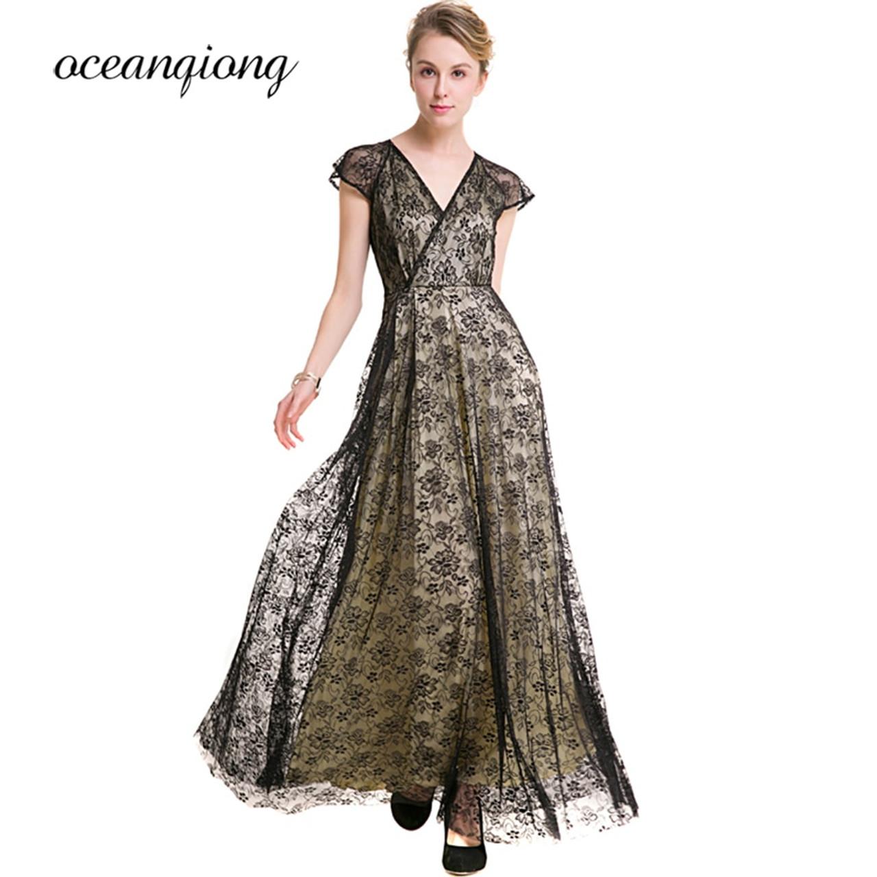 91013d8428509 New Fashion Party Dress Maxi 2018 Spring Summer Sexy V Neck Long Lace Dress  Vintage Women Party Dress Big Size Female Vestidos
