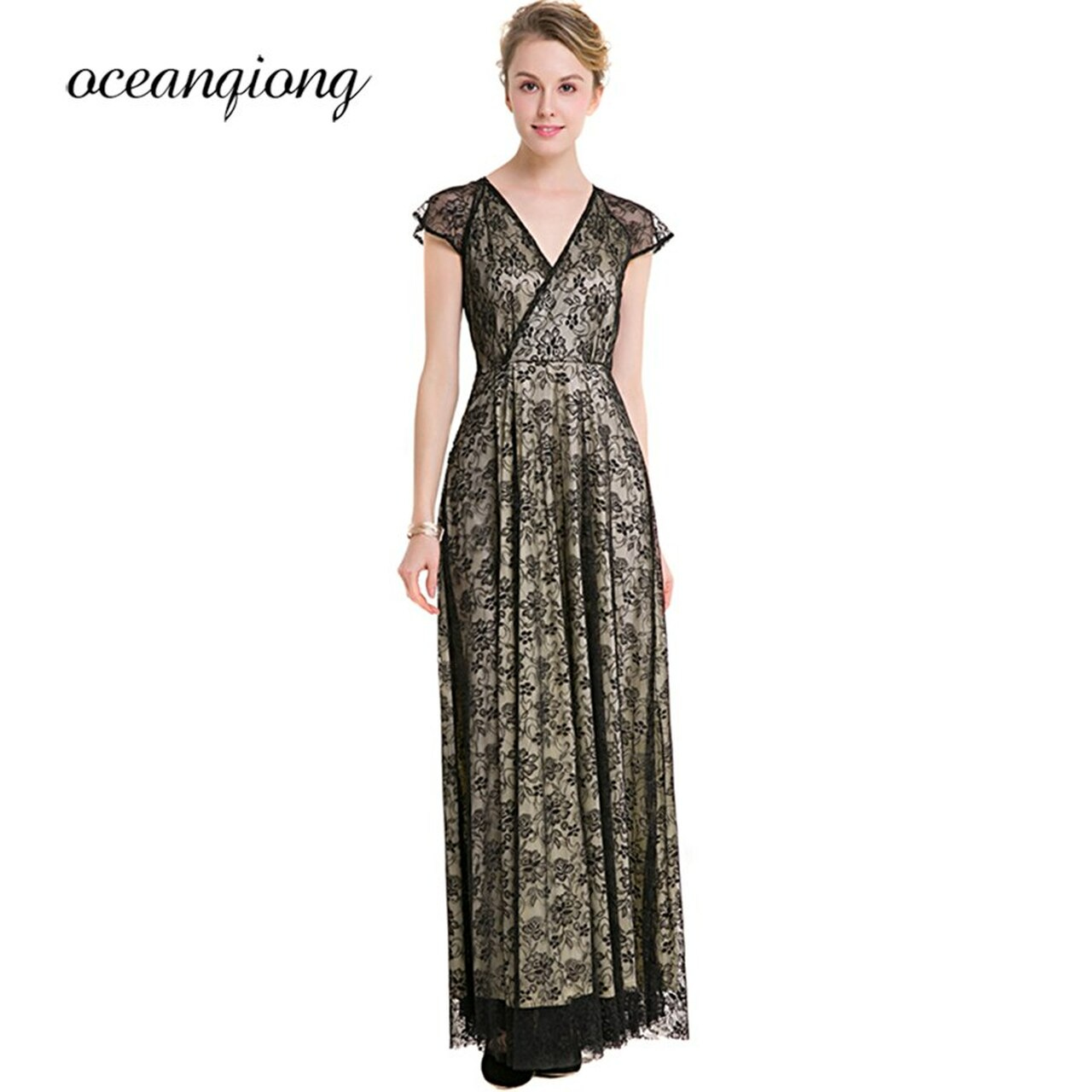 a64093a59e959 ... New Fashion Party Dress Maxi 2018 Spring Summer Sexy V Neck Long Lace  Dress Vintage Women ...