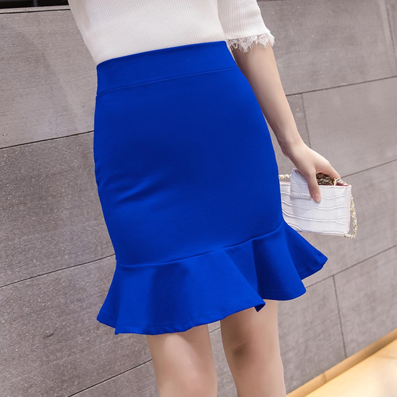 a05b6ed59f07 2018 Women Short Pencil Skirt Slim Bodycon High Waist Ruffles Hem Mermaid  Solid Mini Skirt Ladies ...