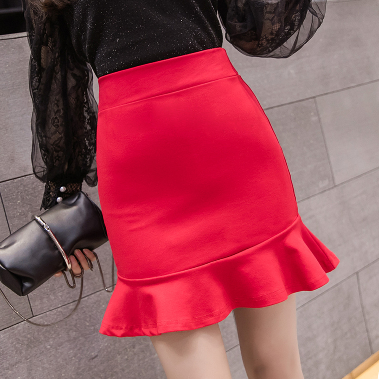 aaff74d43c3 ... 2018 Women Short Pencil Skirt Slim Bodycon High Waist Ruffles Hem  Mermaid Solid Mini Skirt Ladies ...