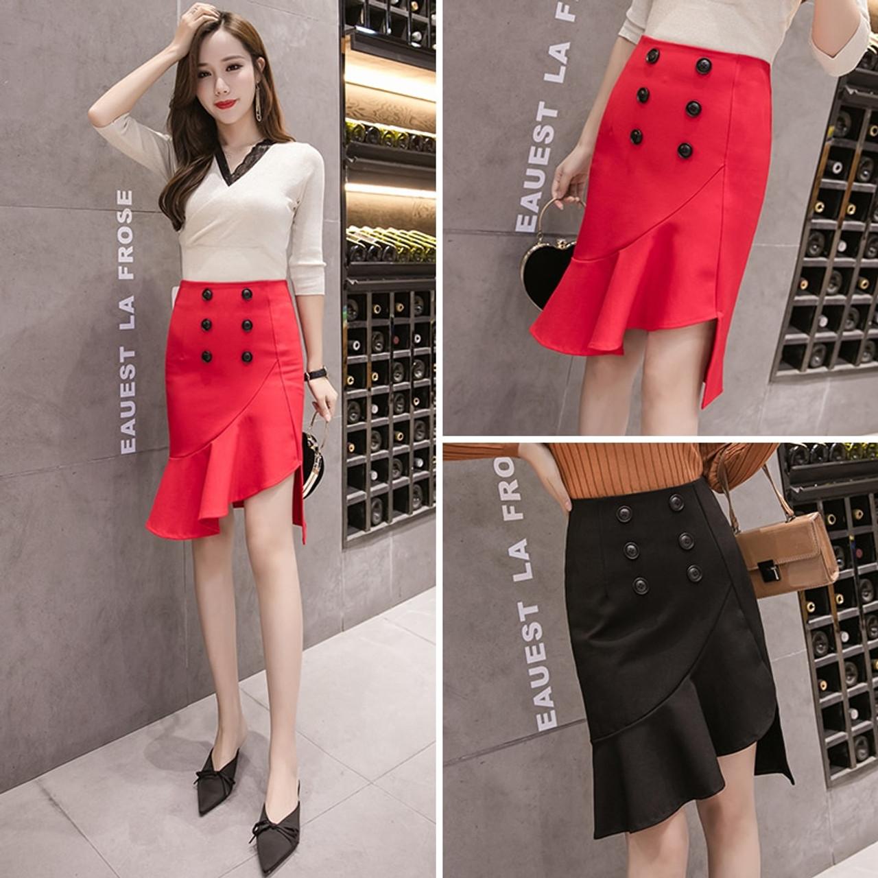 e663b6c17 ... 2018 Autumn Elegant Midi Skirt Women Fashion Button Half-length  Irregular Solid Skirt Office Ladies ...