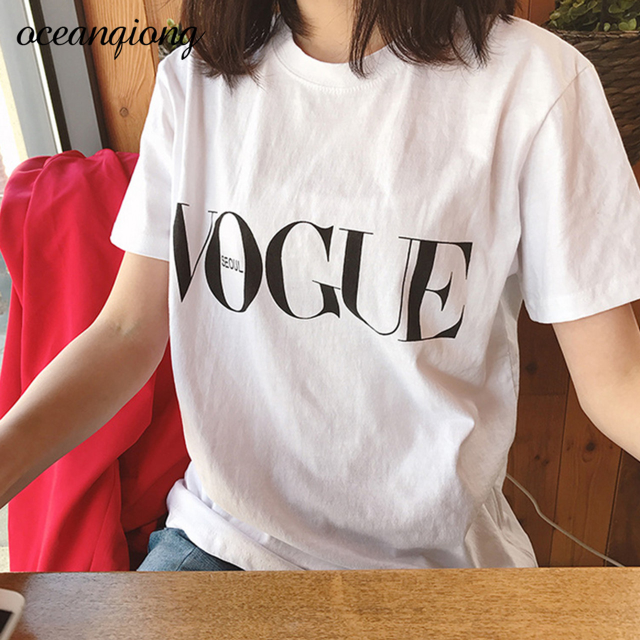 e4a9d515a4c1 ... 2018 Brand Summer Tops Fashion Clothes For Women VOGUE Letter Printed  Harajuku T Shirt Red Black ...