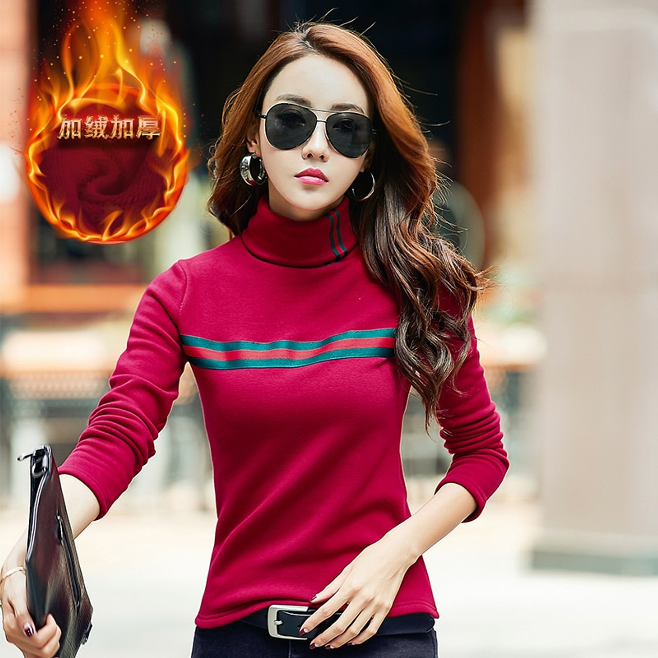 96953aa3d3e63 Women Winter T Shirt Warm Basic Tees Solid Turtleneck Long Sleeve Slim  Shirts Ladies Plus Size ...