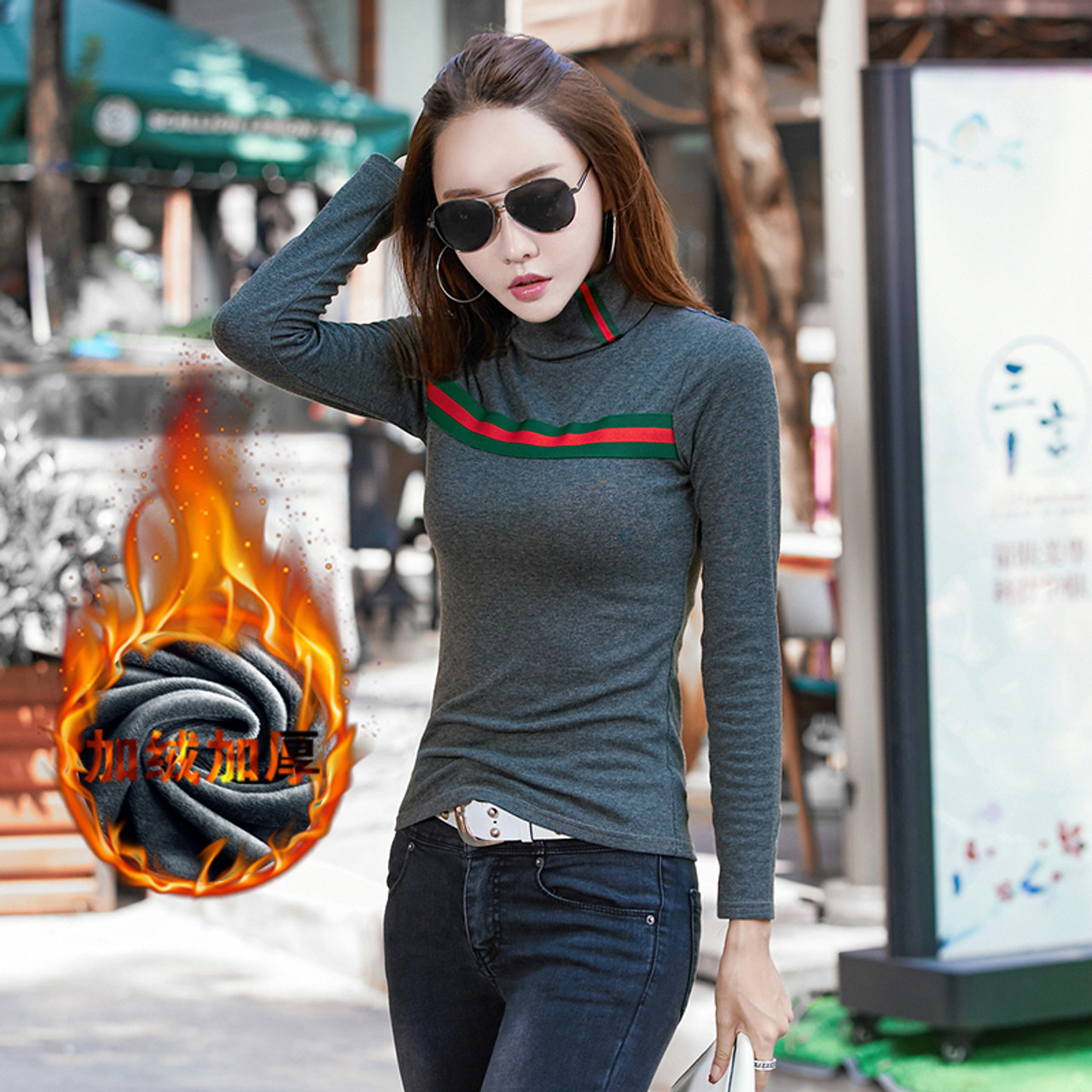 87bcbb11ec323 ... Women Winter T Shirt Warm Basic Tees Solid Turtleneck Long Sleeve Slim  Shirts Ladies Plus Size ...