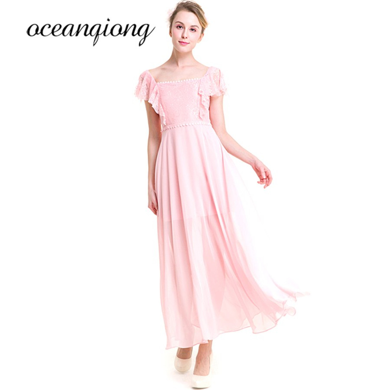 425965881f864 ... 2018 Spring Summer Lace Chiffon Dress Women Sexy Loose Elegant O-neck  Short Sleeve Pink ...