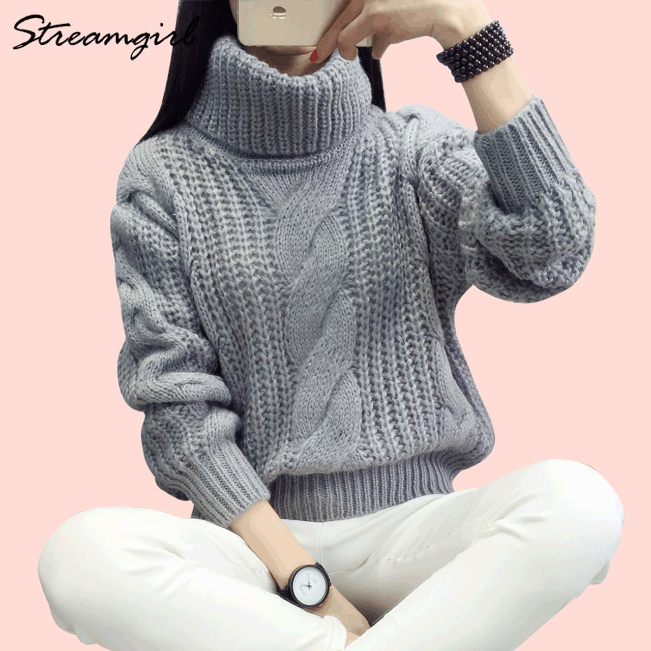 cade71933c Women s Turtleneck Warm Sweater Coarse Knitted Pull Femme Hiver Truien  Winter 2018 Truien Dames Oversized Warm Sweater Women - OnshopDeals.Com