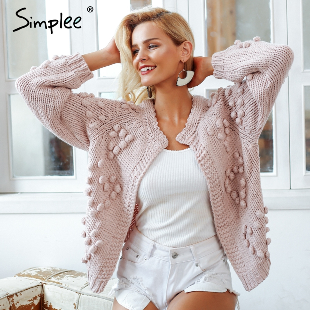 a81eb80baf Simplee Hairball knitted cardigan Casual o neck long sleeve pink cardigan  jumper 2018 Autumn winter women sweater - OnshopDeals.Com