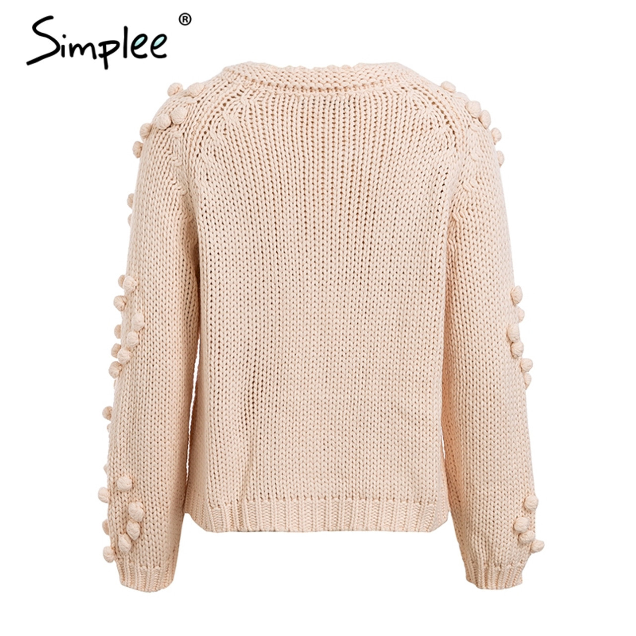 0f1ae7013f7d40 ... Simplee Hairball knitted cardigan Casual o neck long sleeve pink cardigan  jumper 2018 Autumn winter women ...
