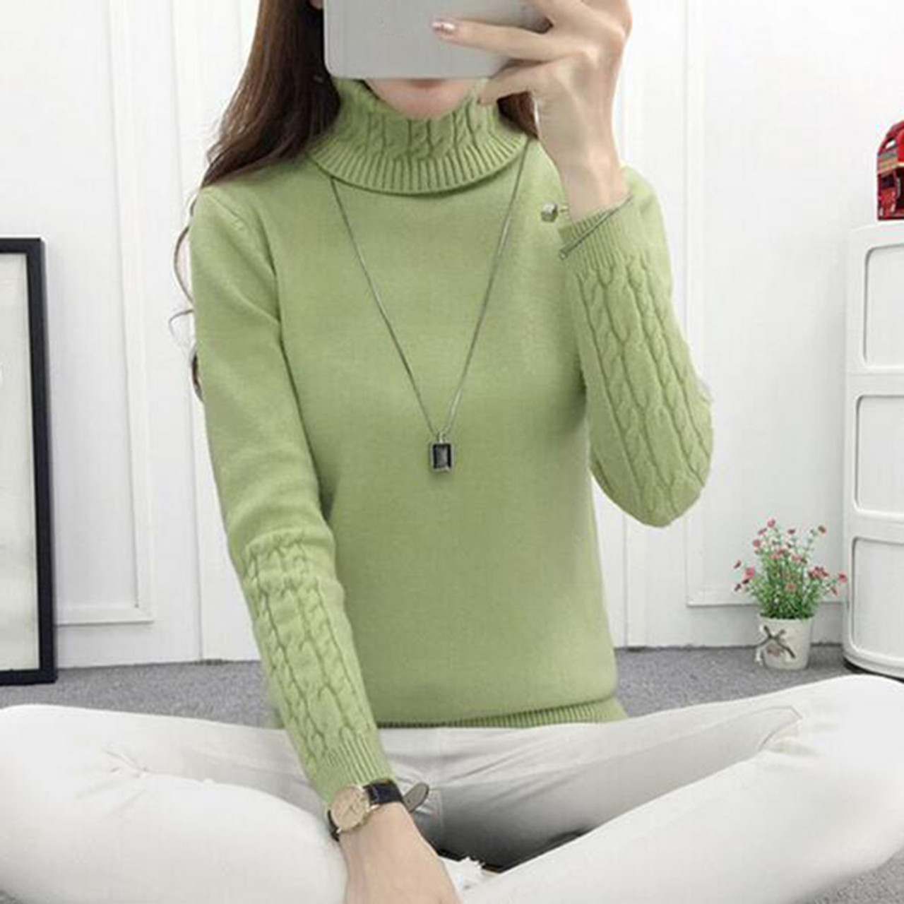 93fc07cd26 ... Women Turtleneck Winter Sweater Women 2018 Long Sleeve Knitted Women  Sweaters And Pullovers Female Jumper Tricot ...