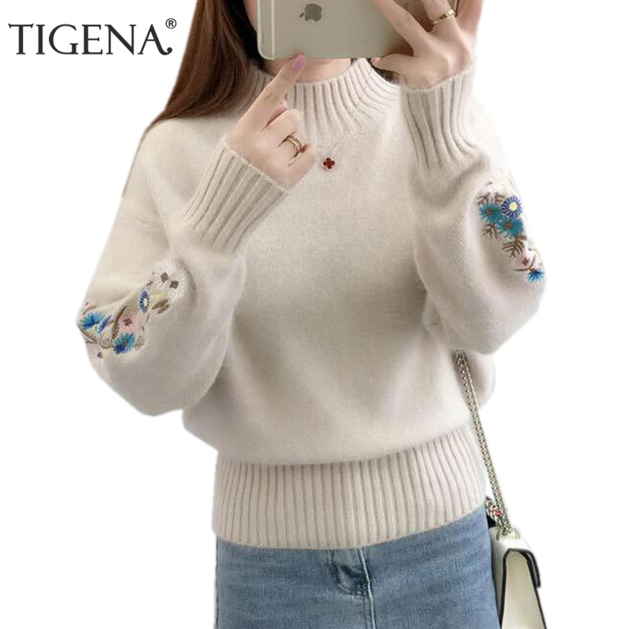 3bb3265f53 TIGENA 2018 Winter Thick Warm Beautiful Embroidery Turtleneck Sweater Women  Long Sleeve Knit Pullover Sweater Female Pull Femme - OnshopDeals.Com