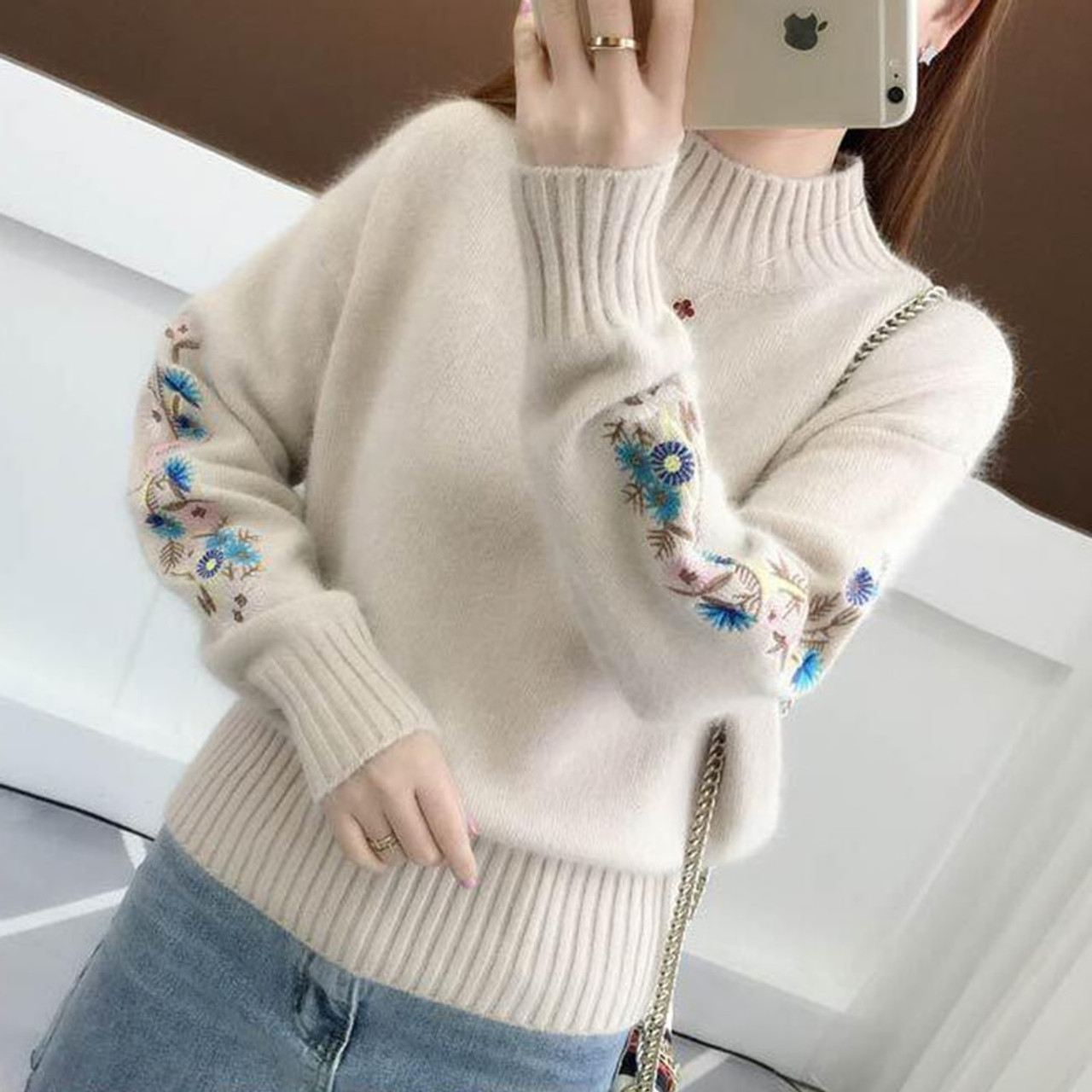2d438cd483 ... TIGENA 2018 Winter Thick Warm Beautiful Embroidery Turtleneck Sweater  Women Long Sleeve Knit Pullover Sweater Female ...