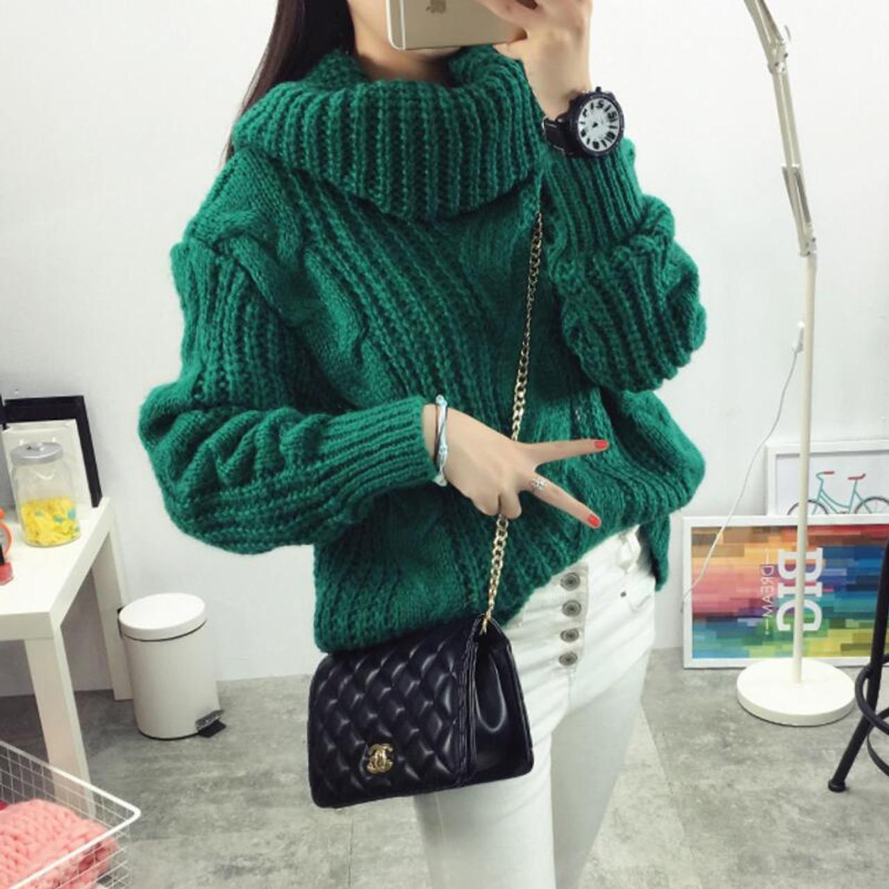 736a6c83ea Vintage Turtleneck Sweater Winter Oversize Twist Hemp Flowers High Neck  Loose Pullovers Women Thicken Knitted Warm Sweater - OnshopDeals.Com