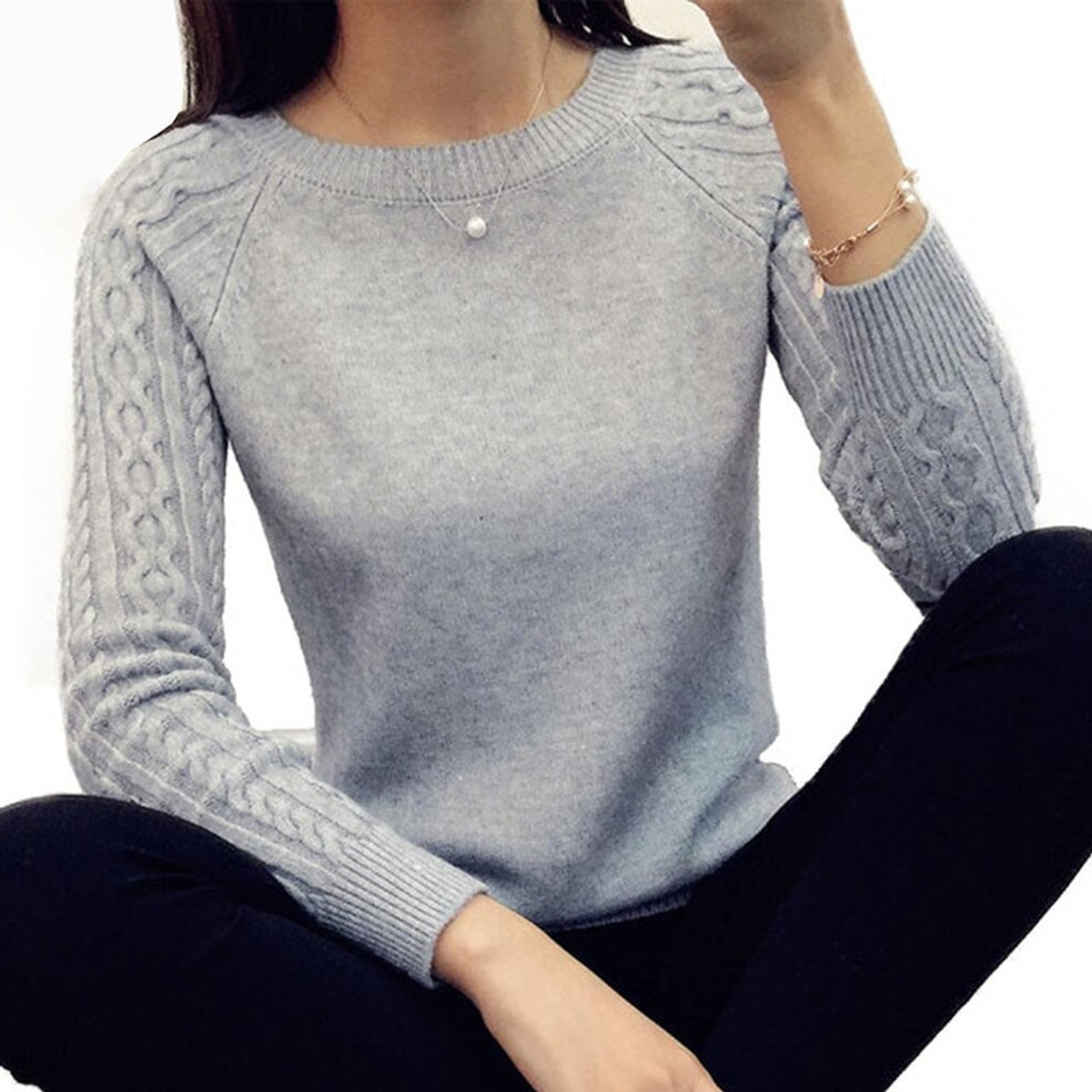 Women O neck Pullover Sweater 2018 Autumn Winter Korean New Solid Basic Knitted  Sweater Female Fashion Wild Knitwear 2018 - OnshopDeals.Com d7606c01e