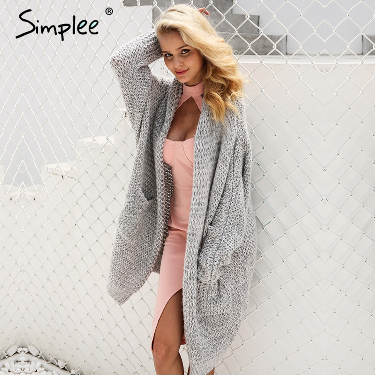 32ac888365 Simplee Casual knitted long cardigan female Loose cardigan knitted jumper  Warm winter 2018 sweater women cardigan plus size coat - OnshopDeals.Com