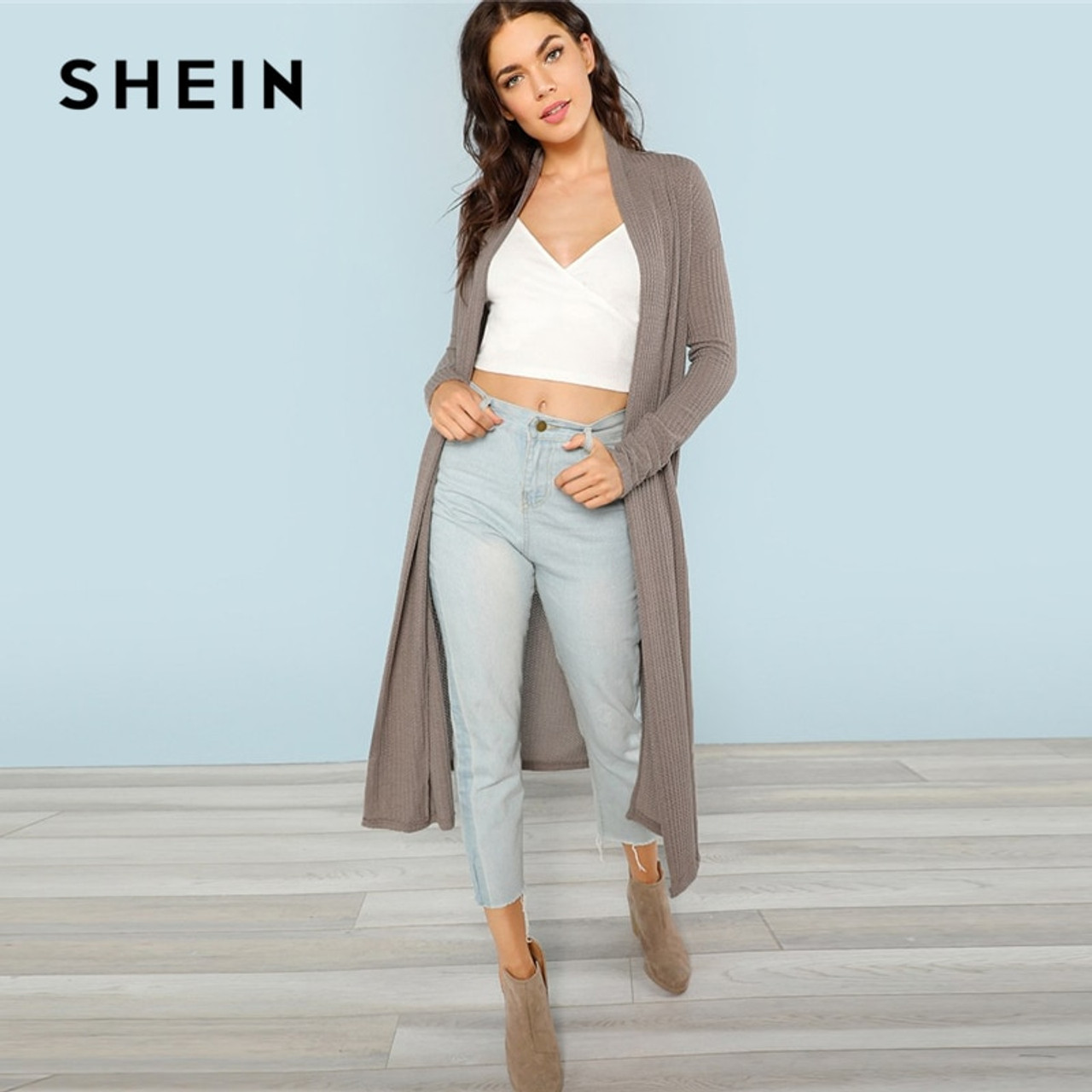 27f23689f217 ... SHEIN Blossom Embroidered Bishop Sleeve Cardigan Autumn Collarless Long  Sleeve Women Tops Fashion Longline Cardigan ...