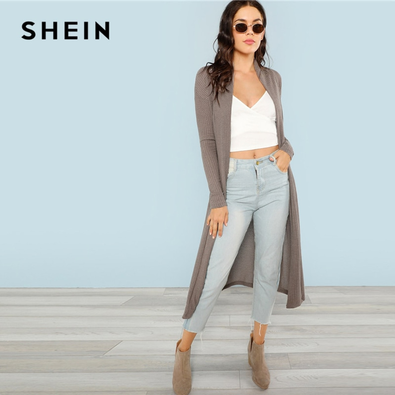 8992ea1d1a ... SHEIN Blossom Embroidered Bishop Sleeve Cardigan Autumn Collarless Long  Sleeve Women Tops Fashion Longline Cardigan ...