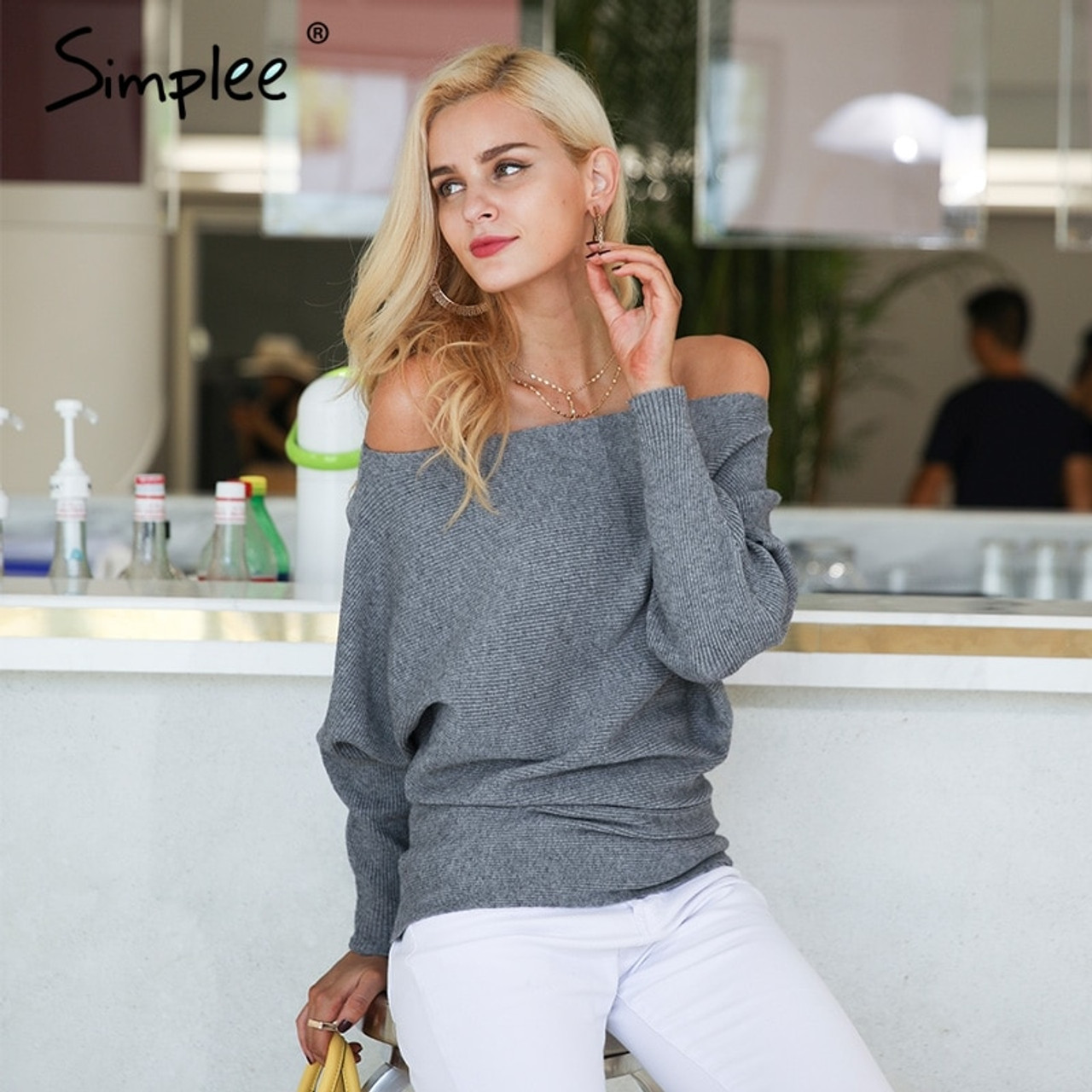 7a1e0d501a3 ... Simplee Off shoulder sexy elastic knitting pullover female Bat long  sleeve knitted sweater women Fashion jumper ...