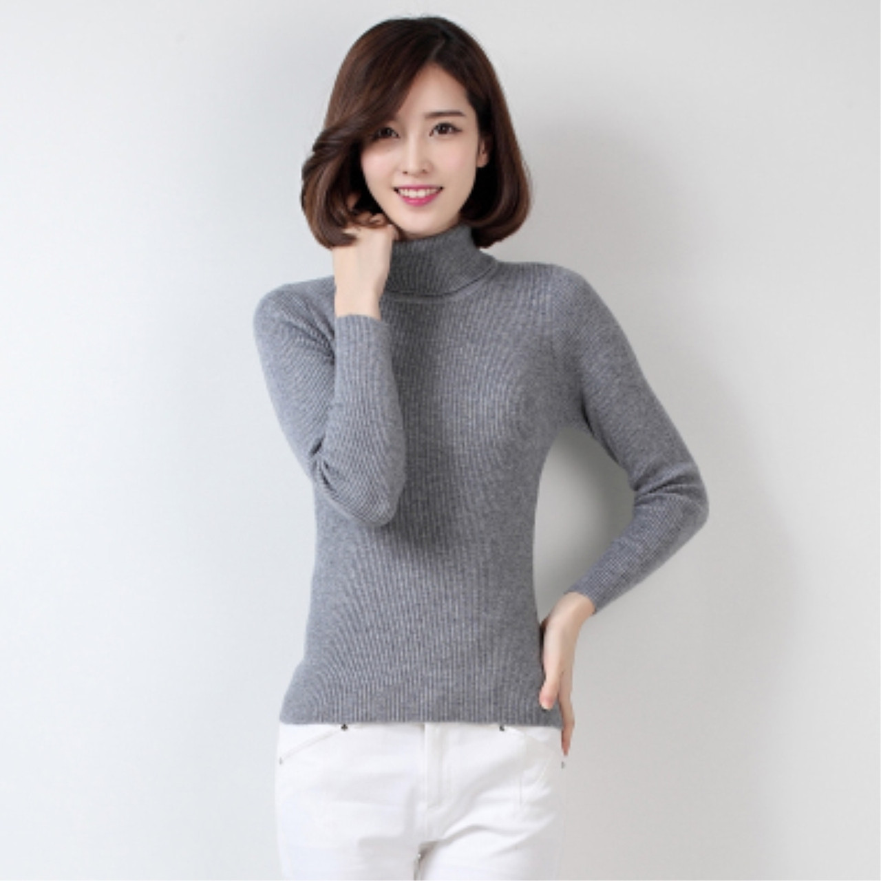 High Collar Sweater Women Half-Sleeved Cashmere Slim Short Knitted Pullover