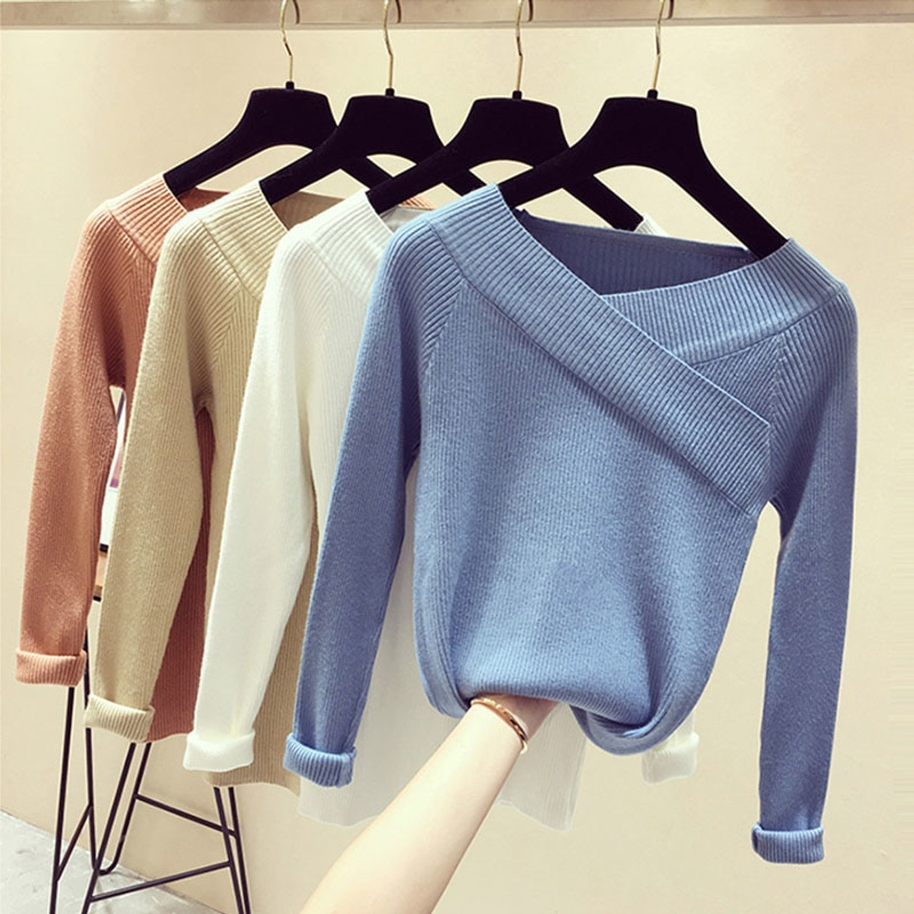 Autumn Winter Sweater Women Sexy V Neck Off Shoulder Long Sleeve Jumper  Women Cashmere Solid Sweater Women Pullover Knitted 2018 - OnshopDeals.Com 40bbe6ac2