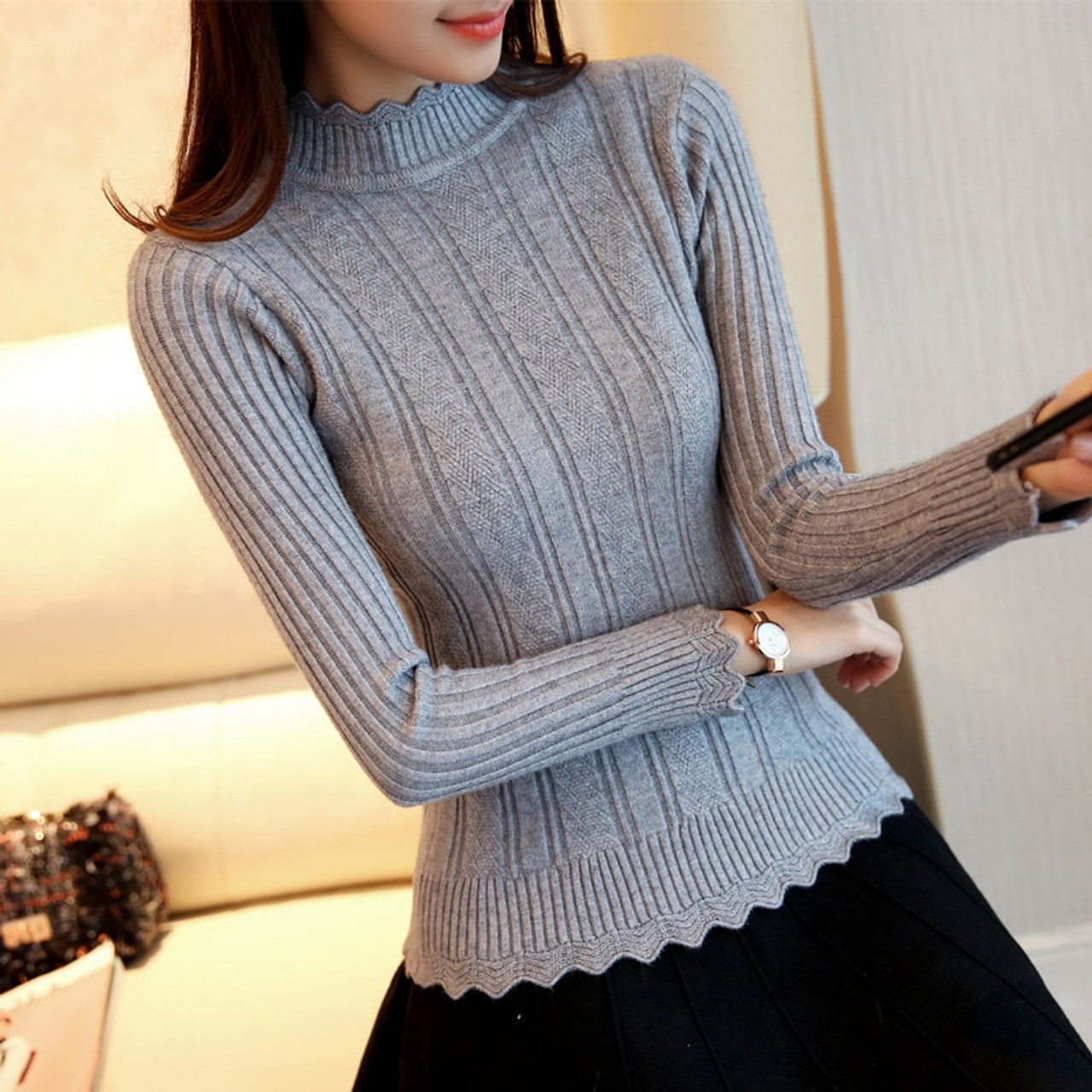 OHCLOTHIN 2018 new Fashion half Korean women knitted sweater slim petal collar  shirt Elastic Bottoming Turtleneck Twist Pullover - OnshopDeals.Com 84dd4ceed