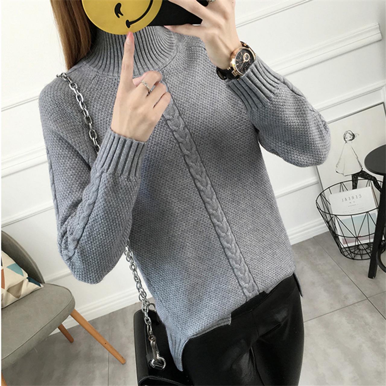 683285ea1b801 ... Women s Turtlenecks New Warm Tops Autumn Winter Women Sweater Knitting  Pullovers Long Sleeve Loose Knitted Sweater ...