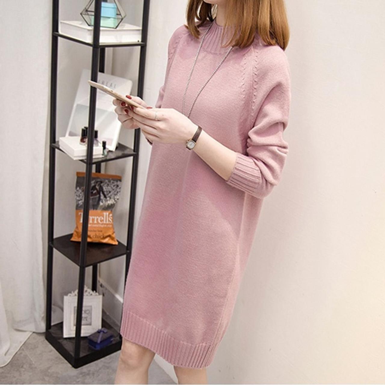 f84a5db8a3b2 ... Autumn Winter Women Long Sweater 2018 New Loose Half Turtleneck Long  Sleeve Knit Pullover Sweater Female ...