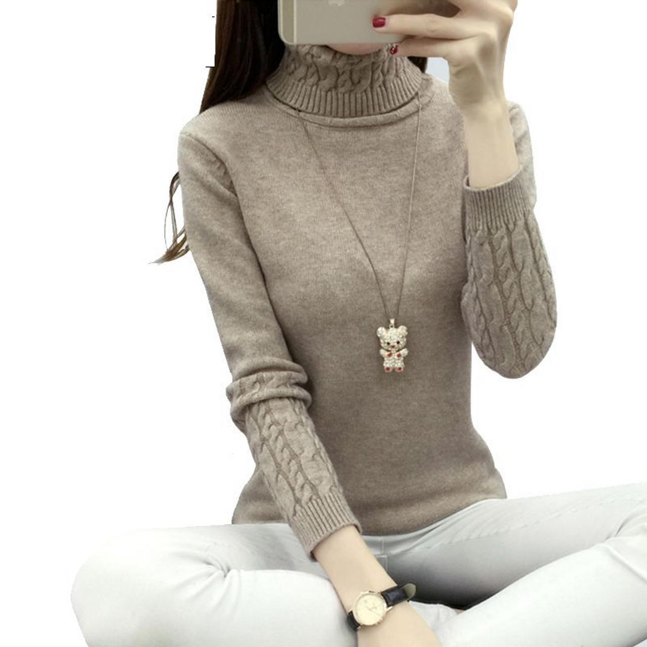 OHCLOTHING Women Turtleneck Winter Sweater Women 2018 Long Sleeve Knitted  Women Sweaters And Pullovers Female Jumper Tricot Tops