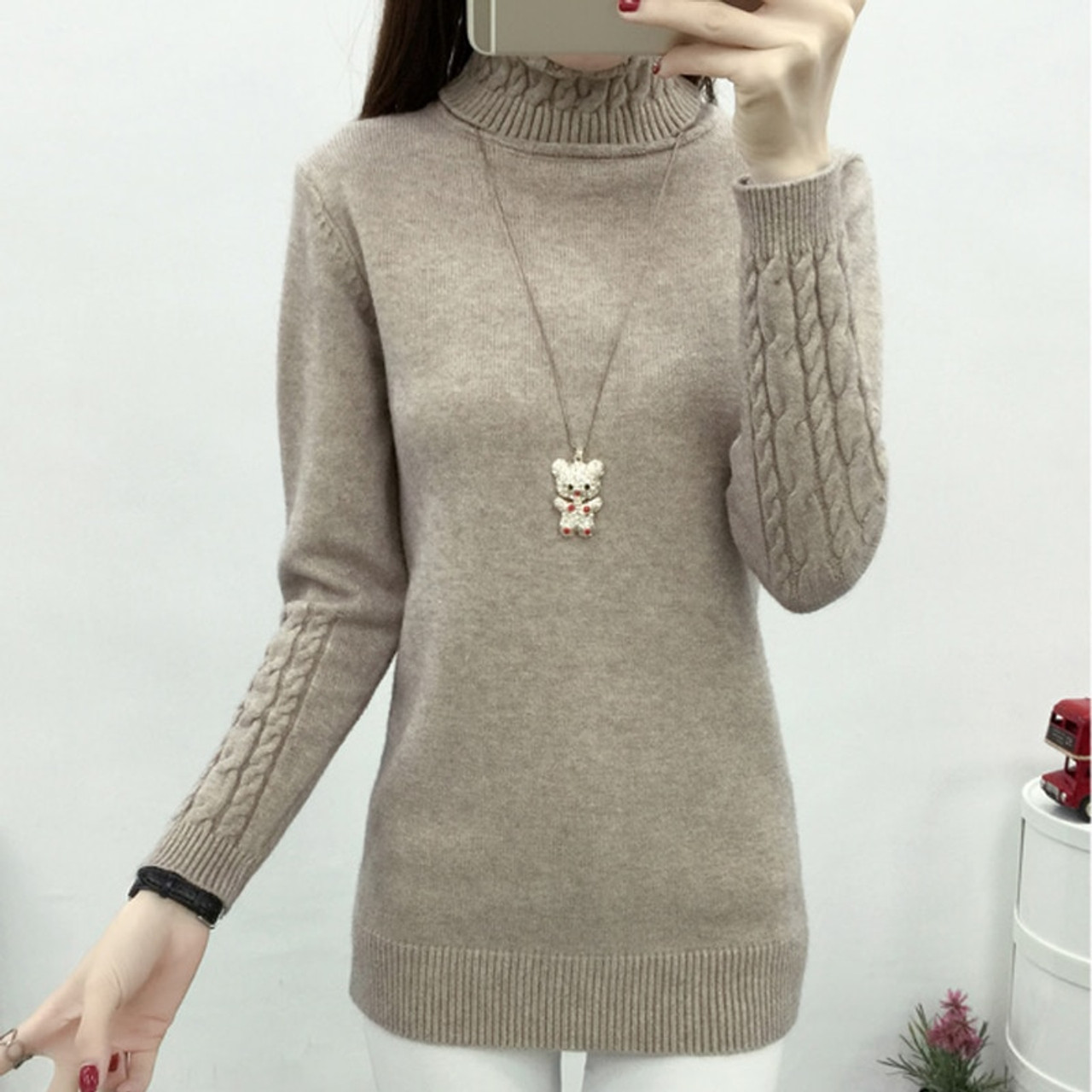 d5cb56b386 ... OHCLOTHING Women Turtleneck Winter Sweater Women 2018 Long Sleeve Knitted  Women Sweaters And Pullovers Female Jumper ...