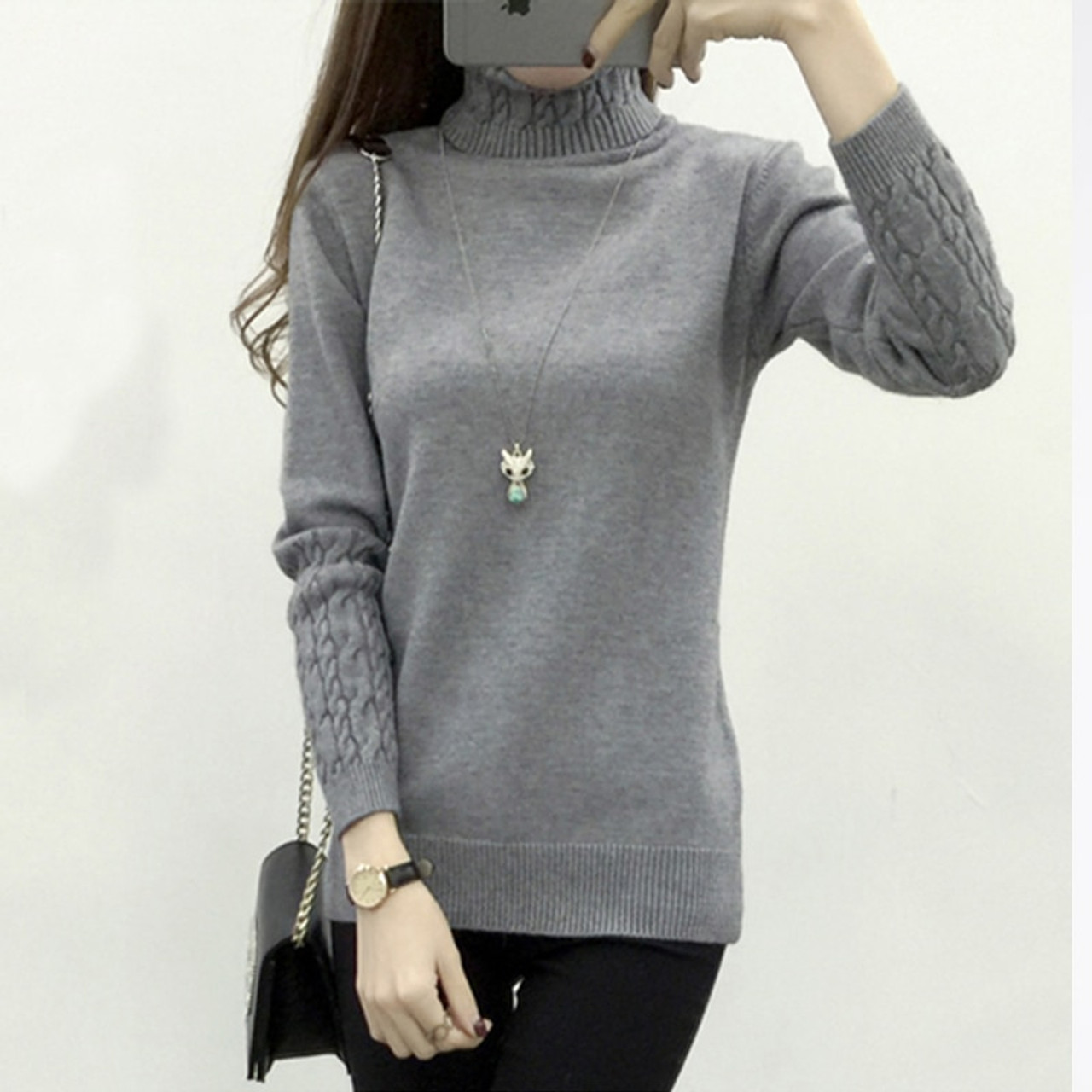 347b75a24c ... OHCLOTHING Women Turtleneck Winter Sweater Women 2018 Long Sleeve  Knitted Women Sweaters And Pullovers Female Jumper ...