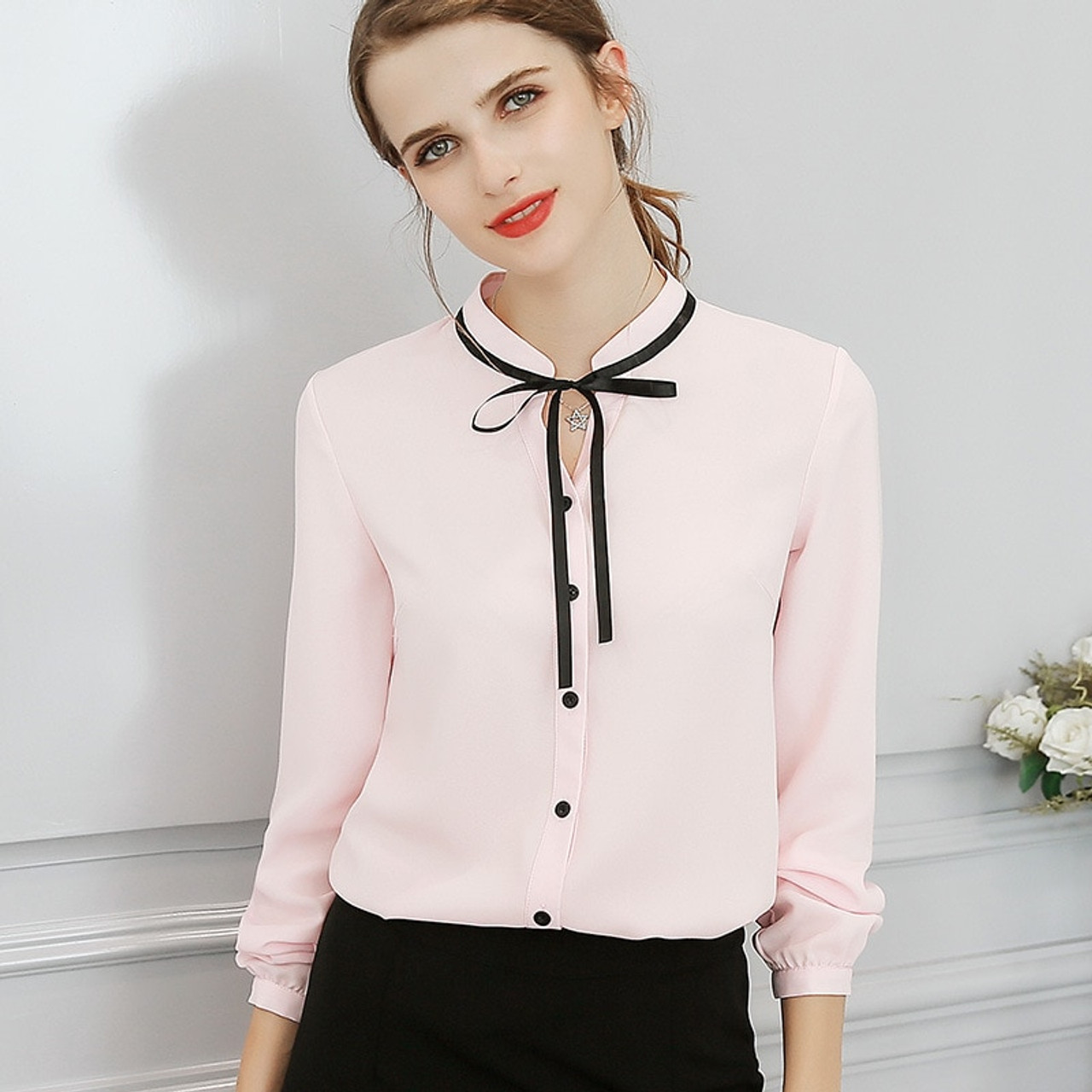 972131611a19a New Spring Autumn Tops Office Ladies Blouse Fashion Long Sleeve Bow Slim White  Shirt Female Cute ...