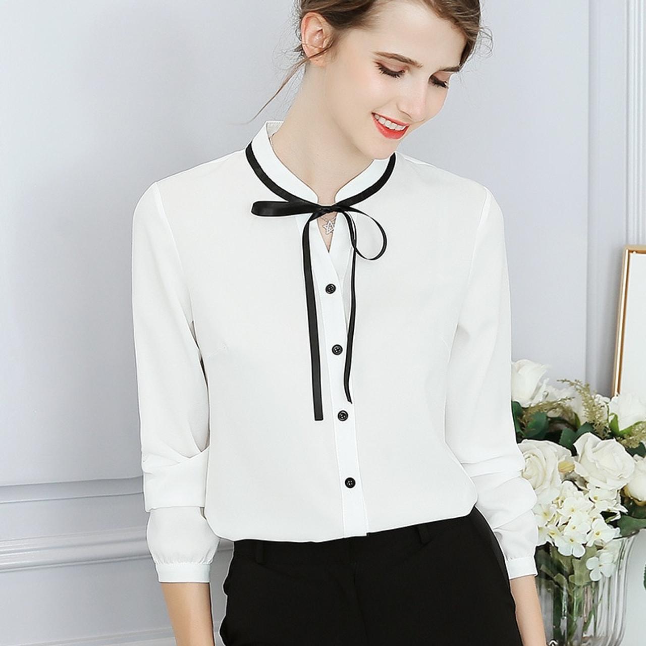 d3e5d37e5b0c3 ... New Spring Autumn Tops Office Ladies Blouse Fashion Long Sleeve Bow  Slim White Shirt Female Cute