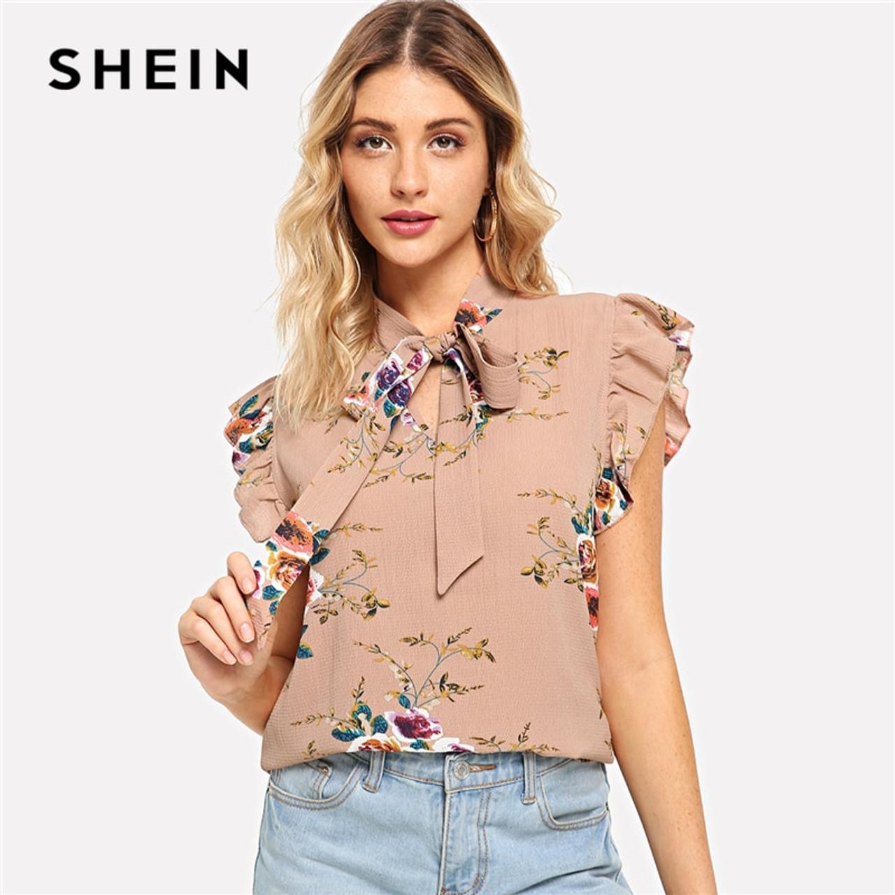 6a341e5ad38 SHEIN Flounce Shoulder Tied Neck Floral Blouse Pink Ruffle Sleeveless  Chiffon Blouses Women Summer Casual Elegant Tops - OnshopDeals.Com
