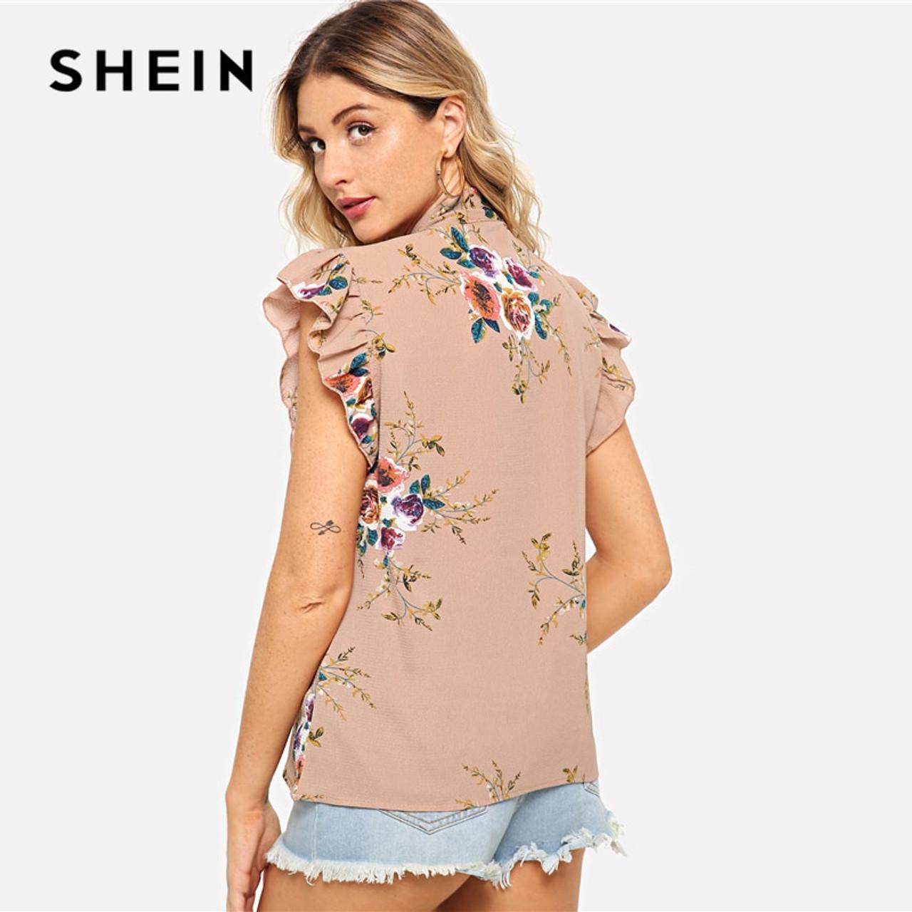5a675fc5d4301c ... SHEIN Flounce Shoulder Tied Neck Floral Blouse Pink Ruffle Sleeveless  Chiffon Blouses Women Summer Casual Elegant ...