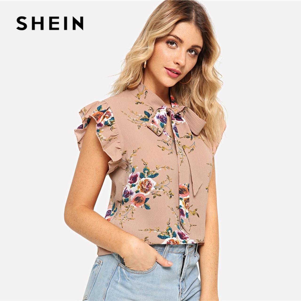 91e935331d8b SHEIN Flounce Shoulder Tied Neck Floral Blouse Pink Ruffle Sleeveless  Chiffon Blouses Women Summer Casual Elegant .