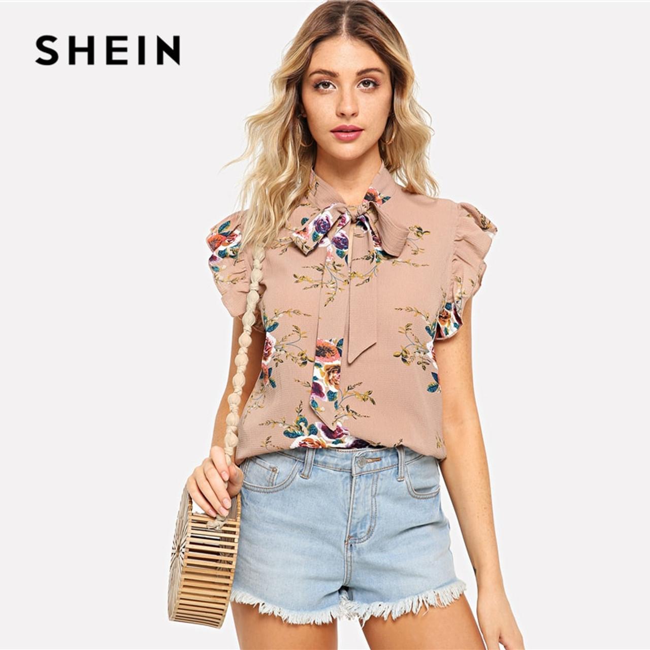 14d1b5ccfb40d3 ... SHEIN Flounce Shoulder Tied Neck Floral Blouse Pink Ruffle Sleeveless  Chiffon Blouses Women Summer Casual Elegant ...