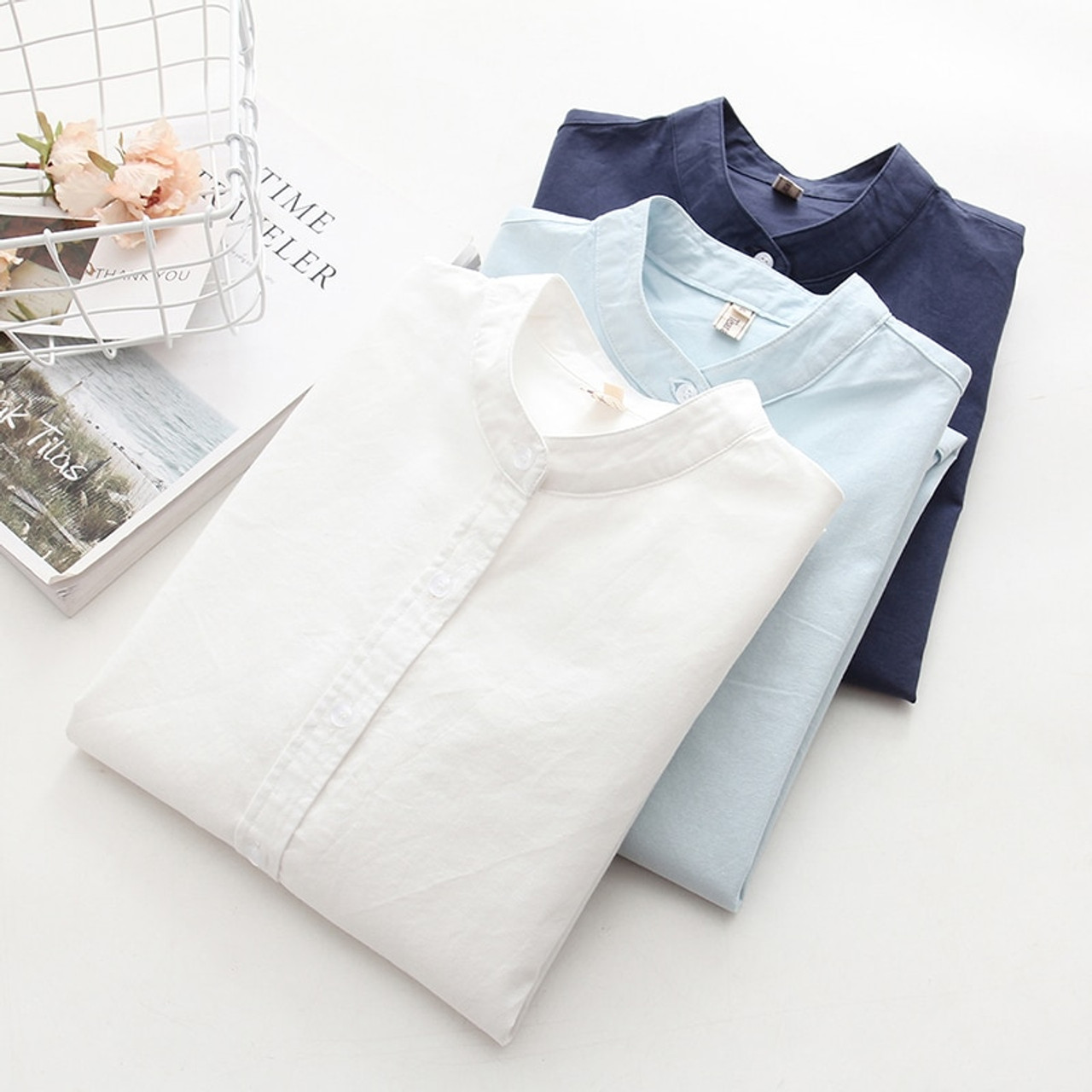 a5071b25ab7 Long Sleeve White Blue Womens Oxford Shirts Plus Size 2018 New Casual Woman  Office Blouse Female ...